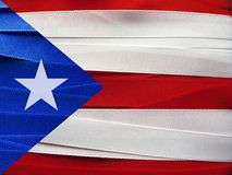 Puerto Rico flag or banner. Made with red, blue and white ribbons Stock Images