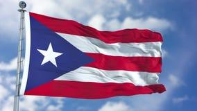 Puerto Rico Flag in een Blauwe Hemel Royalty-vrije Stock Foto