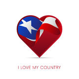Puerto Rico flag in heart. I love my country. sign. Vector. Stock Images