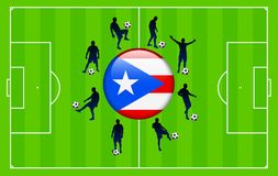 Puerto Rico Flag Icon with Soccer Match Stock Images