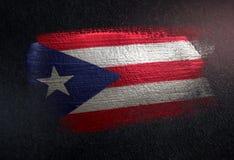 Puerto Rico Flag Made of Metallic Brush Paint on Grunge Dark Wall royalty free stock images