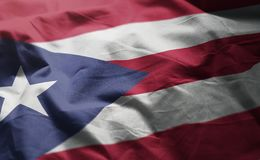 Puerto Rico Flag Rumpled Close Up royaltyfri foto
