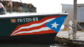 Puerto Rico Flag in a ship, in La Parguera Royalty Free Stock Image