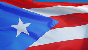 Puerto Rico flag in slow motion seamlessly looped with alpha stock video footage