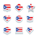 PUERTO RICO flags icons and button set nine styles Stock Photos