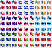 Puerto Rico, Honduras, Ireland, Australia, Thailand, Botswana, Christmas Island, GuineaBissau, MyanmarBurma. Big set of 81 flags. Royalty Free Stock Photography