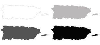 Puerto Rico-Karte - Commonwealth von Puerto Rico lizenzfreie abbildung
