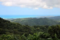 Puerto Rico landscape. View to the north from the El Yunque National Park, the only sub-tropical rainforest in the United States. In the background the royalty free stock photo