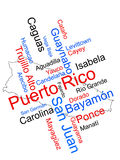 Puerto Rico map and cities. Puerto Rico map and words cloud with larger cities royalty free illustration
