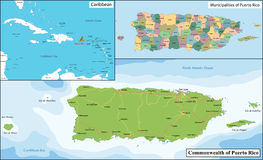 Puerto Rico map Royalty Free Stock Photo