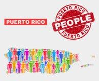 Puerto Rico Map Population Demographics e selo Textured do selo ilustração royalty free