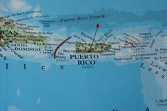 Puerto Rico on a Map. Puerto Rico and surrounding areas on a Map stock image