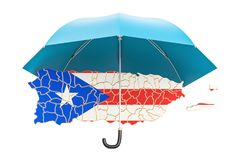 Puerto Rico map under umbrella. Security and protect or insuranc Royalty Free Stock Images