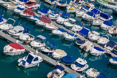 Puerto Rico marina. Yachts in the marina in the Puerto Rico, Gran Canaria, Canary Islands, Spain royalty free stock images