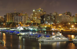Puerto Rico at night. Skyline of San Juan in Puerto Rico Royalty Free Stock Photo