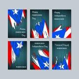 Puerto Rico Patriotic Cards para el día nacional stock de ilustración