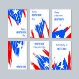 Puerto Rico Patriotic Cards para el día nacional ilustración del vector