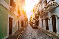 San Juan streets on a bright sunny day. Puerto Rico, San Juan streets on a bright sunny royalty free stock photography