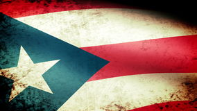 Puerto Rico State Flag Waving, grunge look stock footage