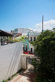 Puerto Rico streets. View from the balcony in Puerto Rico building. SAN JUAN, PUERTO RICO - OCTOBER 20, 2014: Streets of old San Juan city. View from the balcony Stock Photography