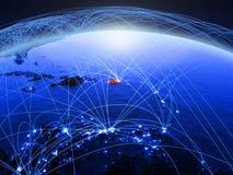 Puerto Rico sur la terre numérique bleue de planète avec le réseau international représentant la communication, le voyage et les  image stock