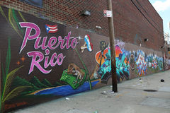 Puerto Rico themed mural art at East Williamsburg Stock Photography