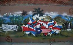 Puerto Rico themed vägg- konst på östliga Williamsburg Royaltyfri Fotografi