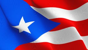 Puerto Rico US State flag waving on wind. royalty free stock photo