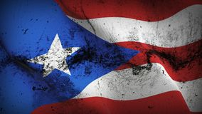 Puerto Rico US State grunge dirty flag waving on wind. United States of America Puerto Rico background fullscreen grease flag blowing on wind. Realistic filth Royalty Free Stock Photography