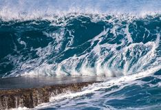 Puerto Rico Wave. Wave breaking on rock slab in Aguadilla, Puerto Rico, winter swell 2018 stock images