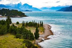 Puerto Rio Tranquilo fotography. Landscape viewpoint of Puerto Rio Tranquilo with the background of the mountains of the Andes mountain range and the General royalty free stock image