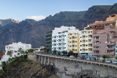 Puerto Santiago resort town and Los Gigantes rocks, Tenerife Stock Photography