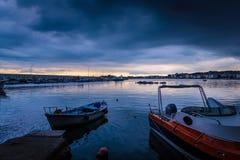 Puerto tranquilo antes de la tormenta Foto de archivo