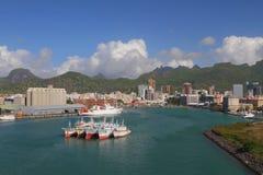 Puerto Trou Fanfaron, puerto y ciudad Port Louis, Isla Mauricio Imagen de archivo