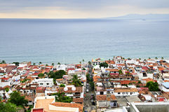 Puerto Vallarta, Mexico. View of rooftops and Pacific ocean in Puerto Vallarta, Mexico stock image