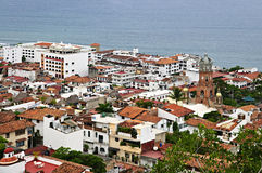 Puerto Vallarta, Mexico. Cityscape view from above with church and Pacific ocean in Puerto Vallarta, Mexico Royalty Free Stock Image