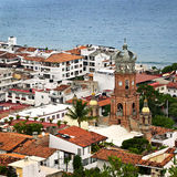 Puerto Vallarta, Mexico. Cityscape view from above with church and Pacific ocean in Puerto Vallarta, Mexico Royalty Free Stock Photo