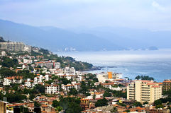 Puerto Vallarta, Mexico. Viiew from above at Puerto Vallarta, Mexico with Pacific ocean royalty free stock images