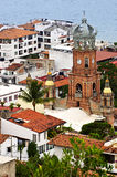 Puerto Vallarta, Mexico. Cityscape view from above with church and Pacific ocean in Puerto Vallarta, Mexico stock photography