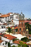 Puerto Vallarta, Mexico. Cityscape view from above with church and Pacific ocean in Puerto Vallarta, Mexico Stock Photo