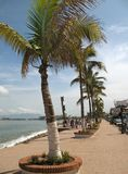 Puerto Vallarta Mexico. Photo of the Malecon in Puerto Vallarta Mexico.  This sidewalk is in the center of town and provides a view of Banderas bay Stock Photography