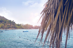 Puerto Vallarta Mexico scene. With leaves of dry palm and boat, Mismaloya Beach Royalty Free Stock Images