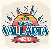 Puerto Vallarta Mexiko - vector Ikone, Emblemdesign Stockbild