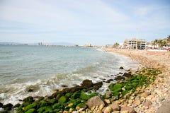 Puerto Vallarta Shore. The Malecon & shore of downtown Puerto Vallarta, Mexico Stock Image