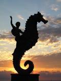 Puerto Vallarta sunset. Sunset on the Malecon at Puerto Vallarta, Mexico silhouette Royalty Free Stock Photos