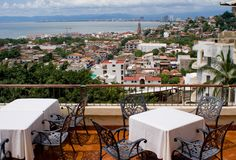Puerto Vallarta View. A view of old town area of Puerto Vallarta Mexico and Banderas bay Stock Photography