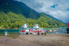 PUERTO VARAS, CHILE, SEPTEMBER, 23, 2018: Outdoor view of boats on the shore of Lake Todos Los Santos, Region in Chile.  royalty free stock images