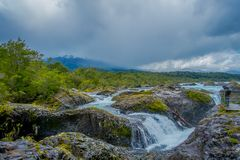 PUERTO VARAS, CHILE, SEPTEMBER, 23, 2018: Saltos de Petrohue. Waterfalls in the south of Chile, formed by volcanic royalty free stock image