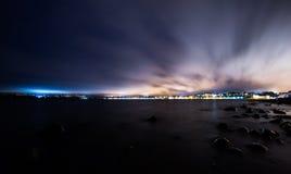 Puerto Varas. City at night. Chile Stock Photos