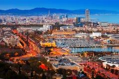 Puerto Vell en Barcelona durante puesta del sol cataluña fotos de archivo libres de regalías
